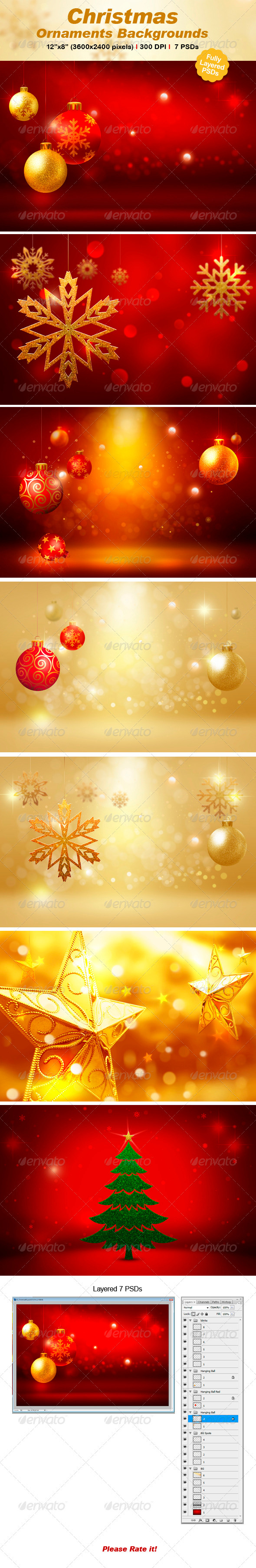 GraphicRiver Christmas Ornament Backgrounds 3352310