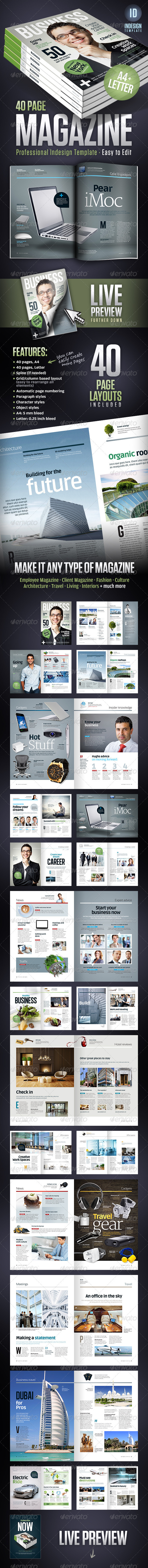 Business Magazine Template A4 + Letter - 40 pages - Magazines Print Templates