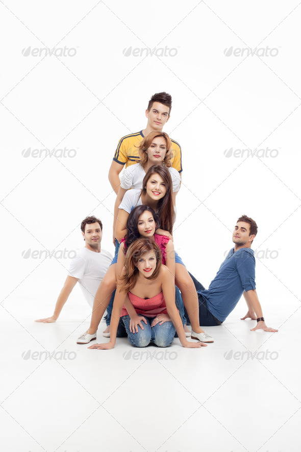 fun group of friends posing - Stock Photo - Images