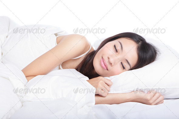 Sleep Girl on bed in the morning - Stock Photo - Images