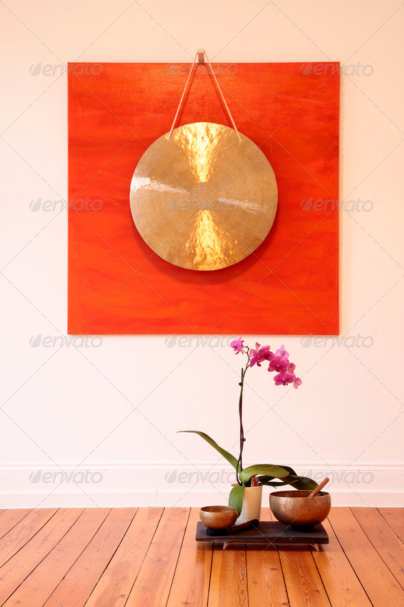 Large Gong and orchid - Stock Photo - Images
