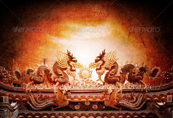 Dragons in chinese temple - Stock Photo - Images