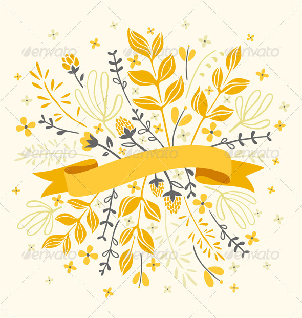 GraphicRiver Florals And Ribbon 3352727
