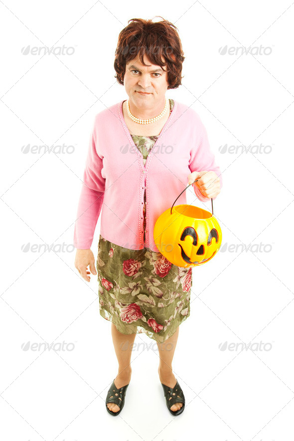 Embarrassed Dad on Halloween - Stock Photo - Images