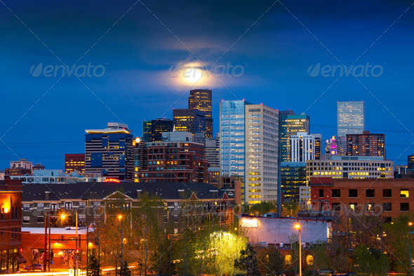 PhotoDune Full Moon Above Denver 2383632