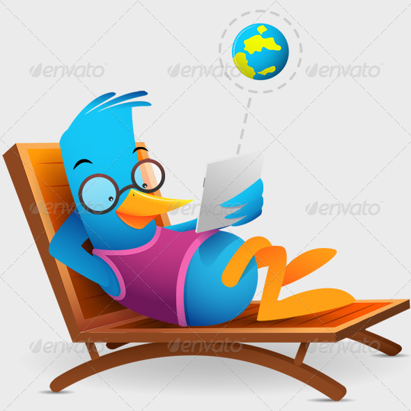 GraphicRiver Blue Bird Sitting Using Tablet 3352856