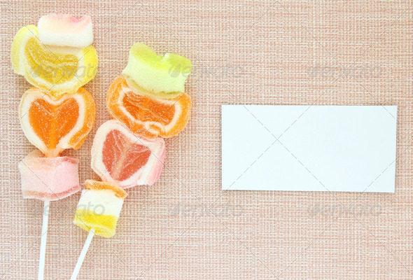 Colorful jelly candy stick and white paper label - Stock Photo - Images