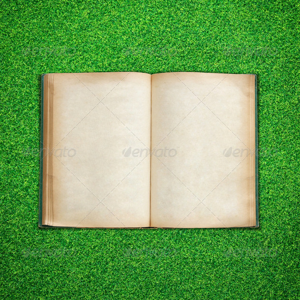Old book open on green grass background - Stock Photo - Images