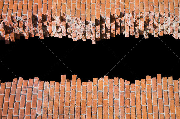 Brocken brick wall with copyspace for your text - Stock Photo - Images