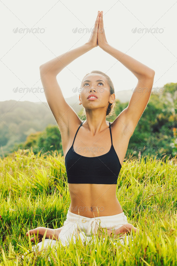 yoga woman outside in nature - Stock Photo - Images