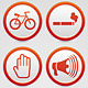 Set of vector warning signs with icons - GraphicRiver Item for Sale