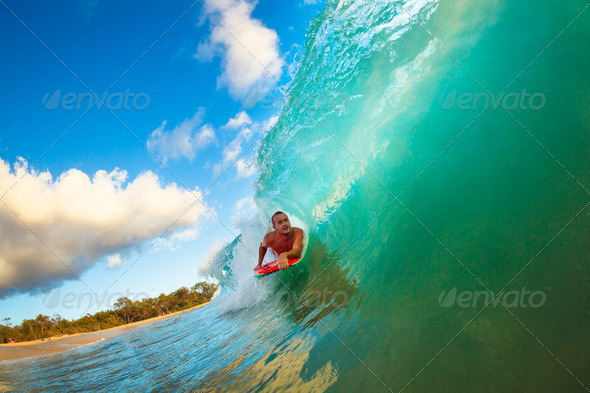 Body Boarder Surfing Blue Ocean Wave - Stock Photo - Images