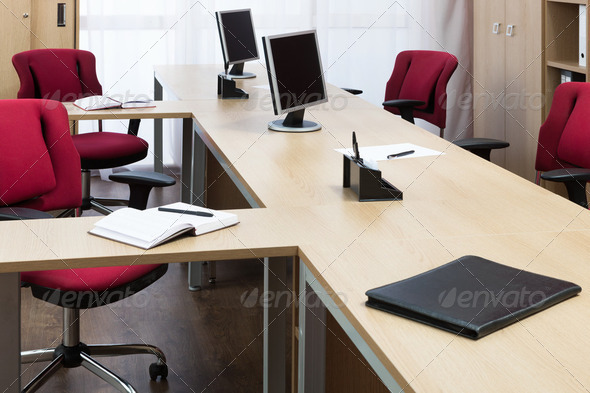 monitors on the desks - Stock Photo - Images