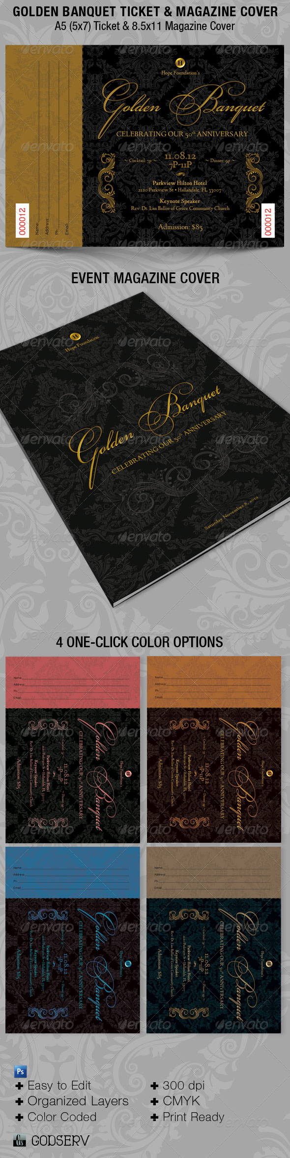 Golden Banquet Ticket and Magazine Cover Template - Miscellaneous Print Templates