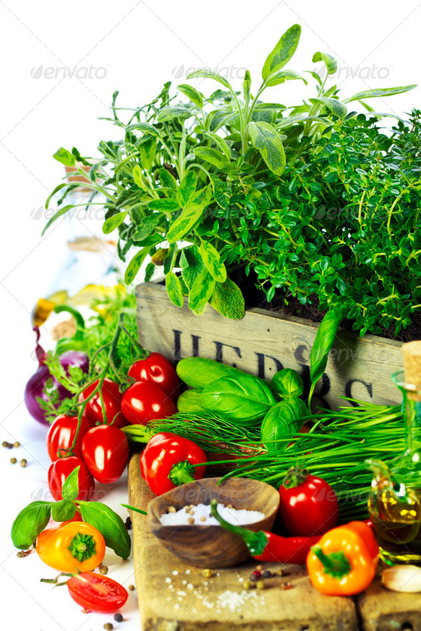 herbs in the box and fresh vegetables - Stock Photo - Images