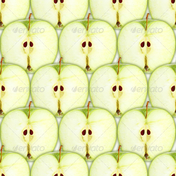 Seamless pattern with slices of green apple - Stock Photo - Images