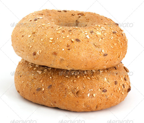 Two bagels on the white background - Stock Photo - Images