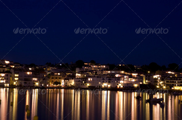 The small town of Cadaques at night. - Stock Photo - Images