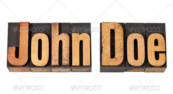 John Doe name  in wood type - Stock Photo - Images