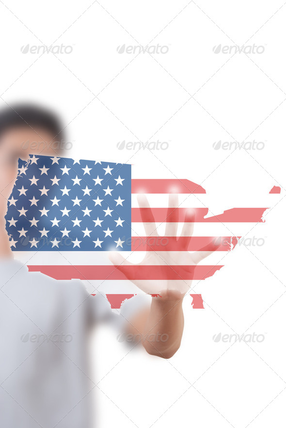 Businessman pushing USA flag. - Stock Photo - Images
