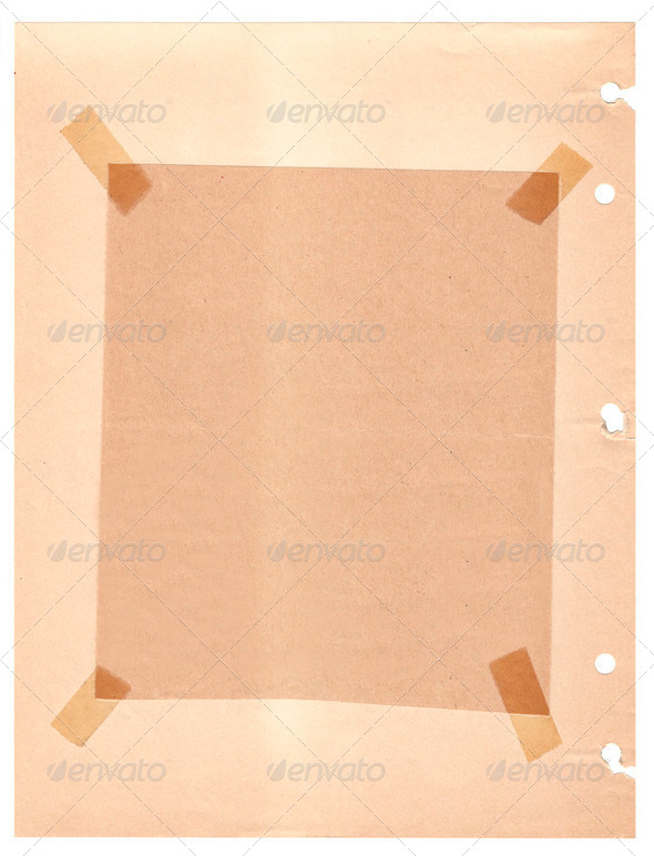 Old vintage grungy paper with a taped frame - Stock Photo - Images