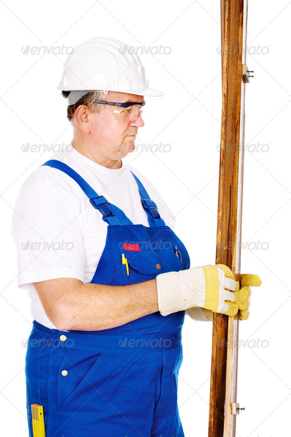 Worker with boards - Stock Photo - Images