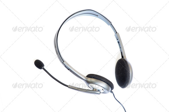 Black headphone on a white background - Stock Photo - Images