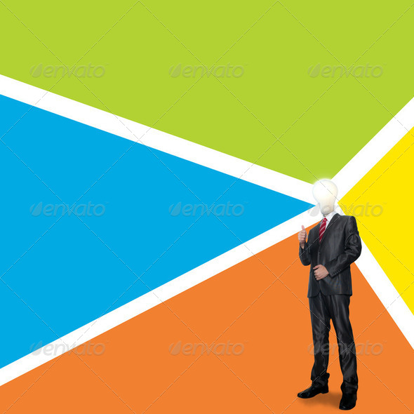Business man with color background - Stock Photo - Images