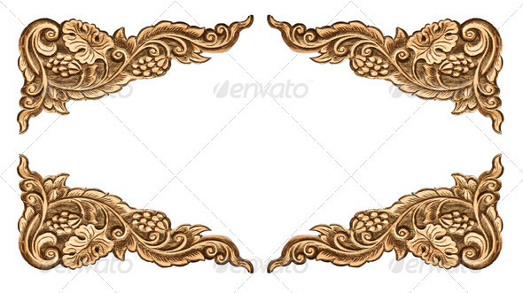 flower carved frame - Stock Photo - Images