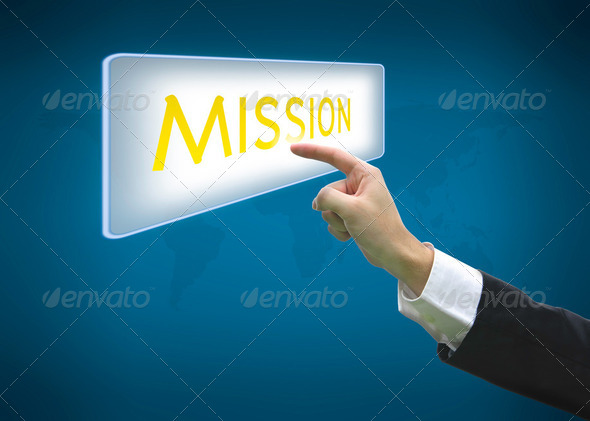 Business hand pointing button mission word - Stock Photo - Images