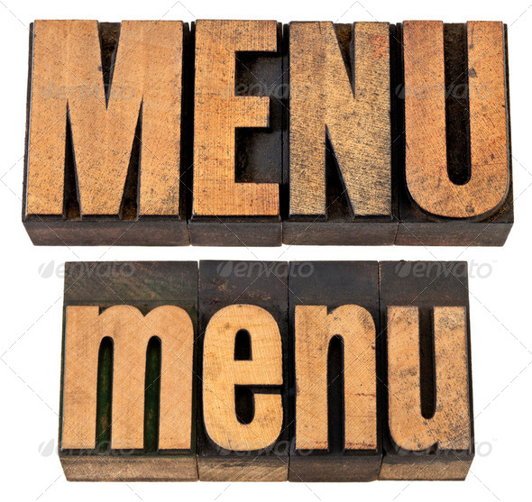 menu word in letterpress wood type - Stock Photo - Images