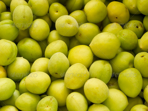 Heap group of fresh green plum - Stock Photo - Images
