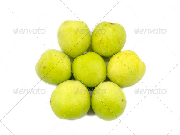 Fresh green plum in flower shape - Stock Photo - Images
