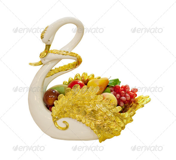 Swan ceramic with fruit - Stock Photo - Images