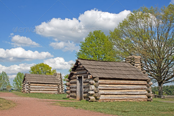 Soldiers Huts at Valley Forge - Stock Photo - Images