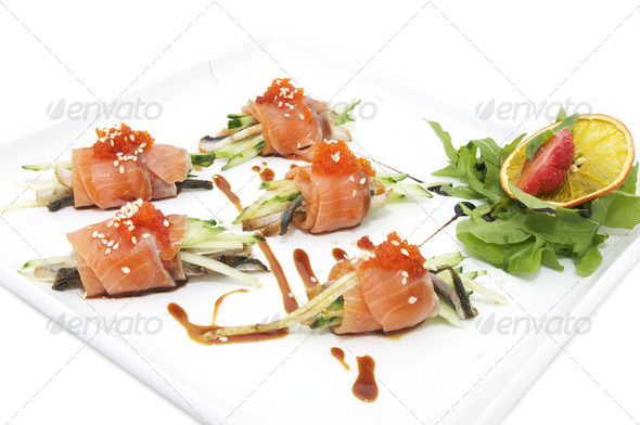 Fish rolls with herbs and fruit - Stock Photo - Images