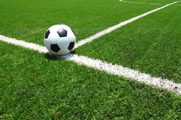Soccer ball on field - Stock Photo | PhotoDune