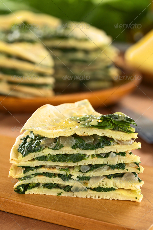 Savory Crepes with Chard - Stock Photo - Images