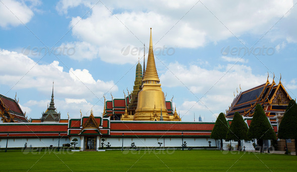 Thai temple in Grand Palace, Thailand - Stock Photo - Images