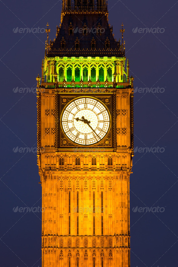 Clocktower with Big Ben at night - Stock Photo - Images