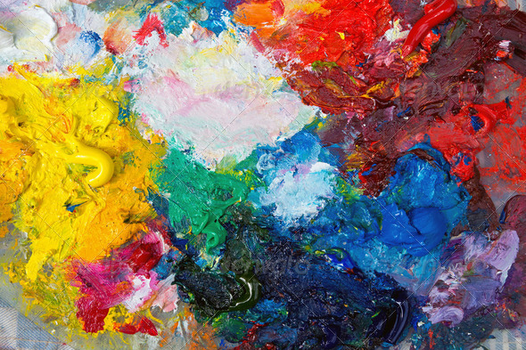 Palette with oil paint - Stock Photo - Images
