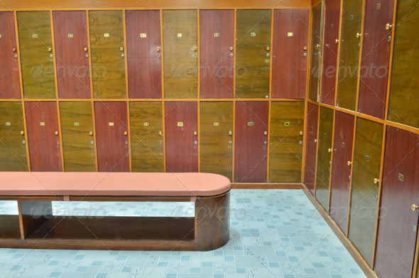 classic wood locker room and a bench - Stock Photo - Images