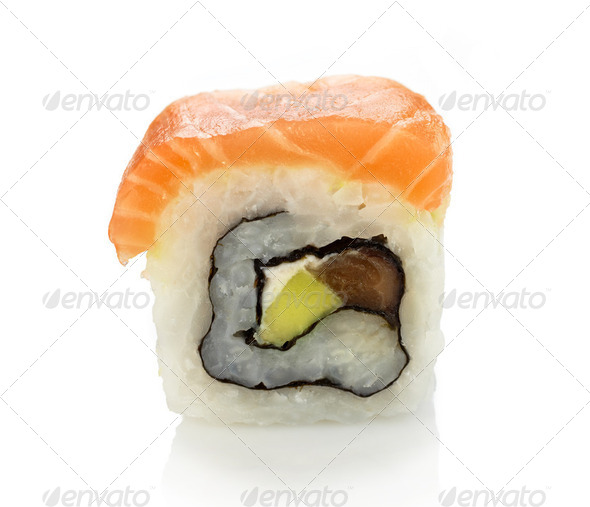 maki sushi with salmon - Stock Photo - Images