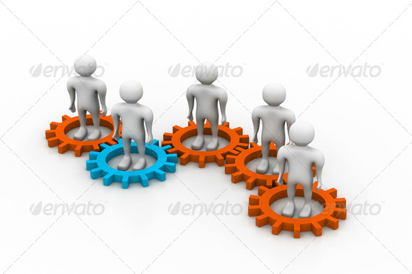 Several people inside gears. teamwork and synergy - Stock Photo - Images