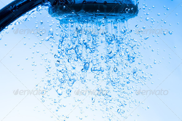 Shower Head with Running Water - Stock Photo - Images