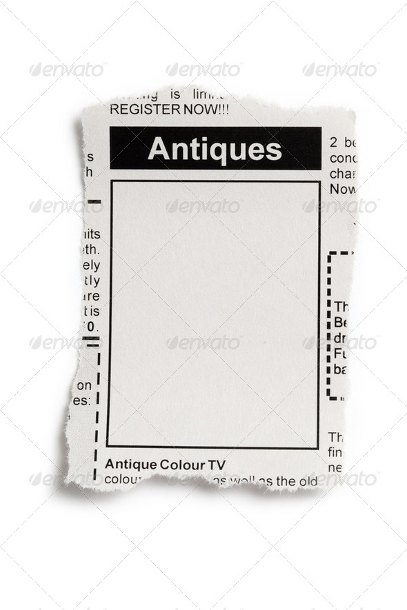 Antiques Sale ad - Stock Photo - Images