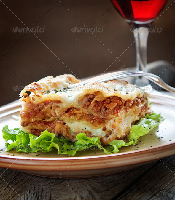 Meat lasagne - Stock Photo - Images