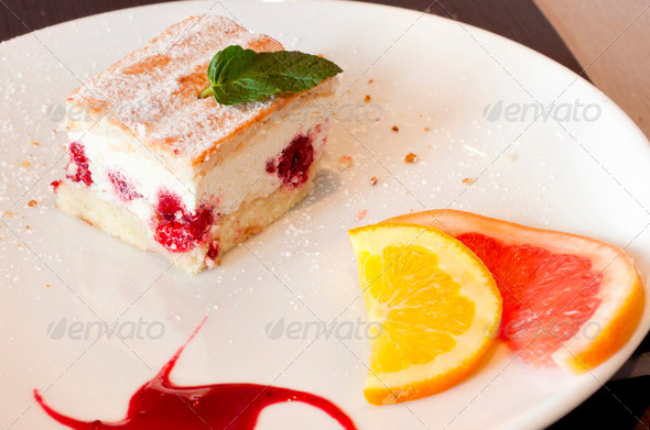 Cake with fruit on a plate - Stock Photo - Images