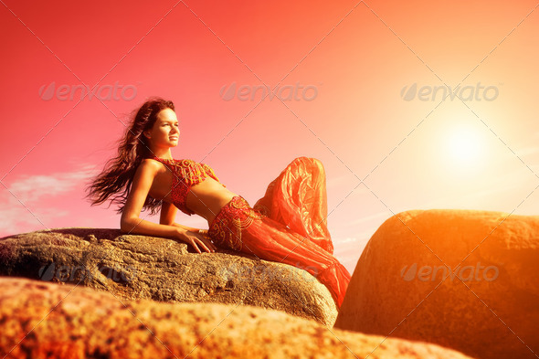 Woman in indian dress - Stock Photo - Images