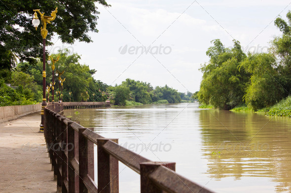 Walkway along the river - Stock Photo - Images